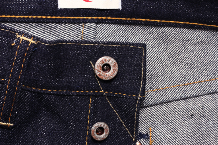 Hanzo Jeans Rusted Laurel Leaf Button